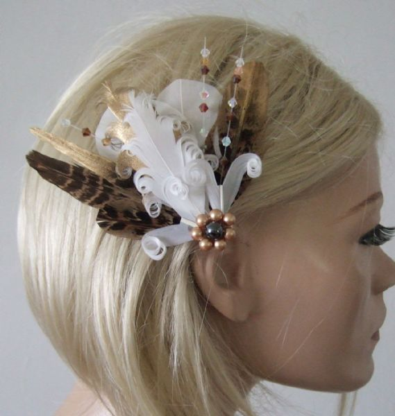 "White Brown Gold Peacock Pheasant Feathers + Crystals Bridal Fascinator Hair Clip ""Eva"" Wedding"